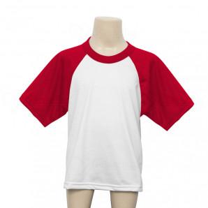 Camiseta Raglan Manga Vermelha Infantil