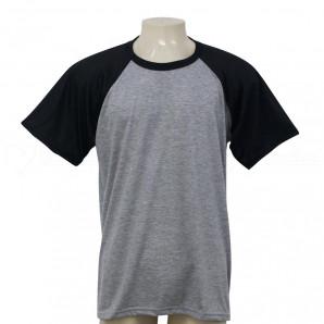 Camisa Raglan Mescla Manga Preta