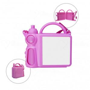Lancheira escolar com garrafa para sublimação Rosa